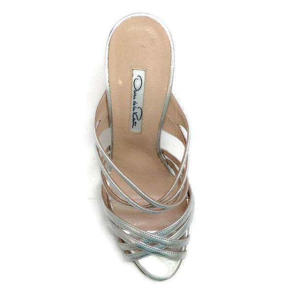 Lilyana Silver Sandals by Oscar de la Renta top