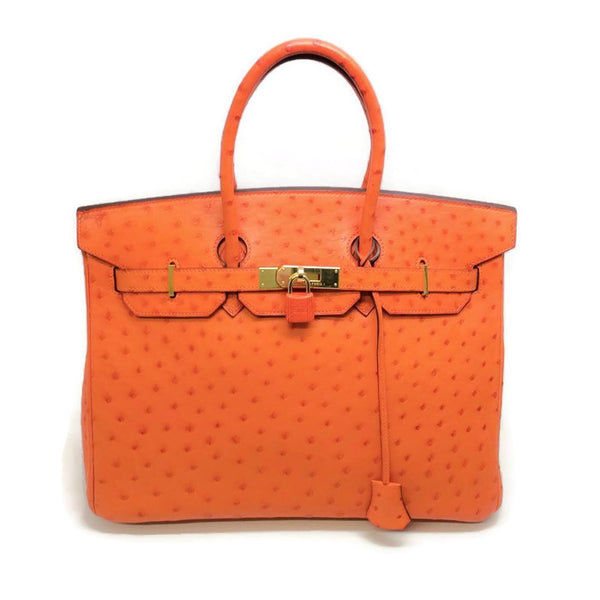Ostrich Leather Birkin Bag Orange by Hermès