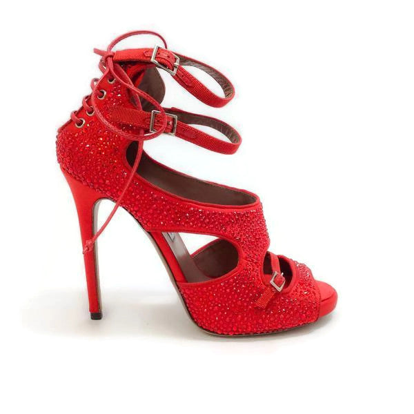 Bailey Red Satin Crystal Pumps by Tabitha Simmons outside
