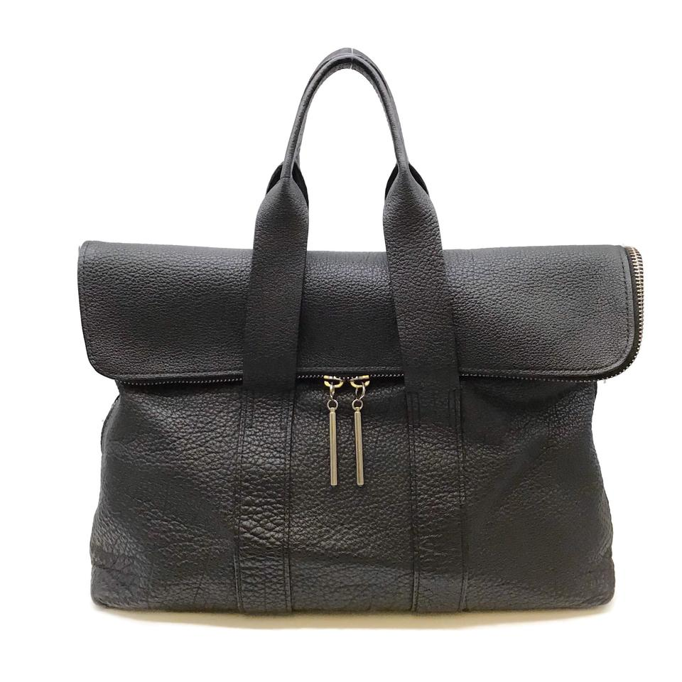 3.1 Phillip Lim 31 Hour Black Leather Tote