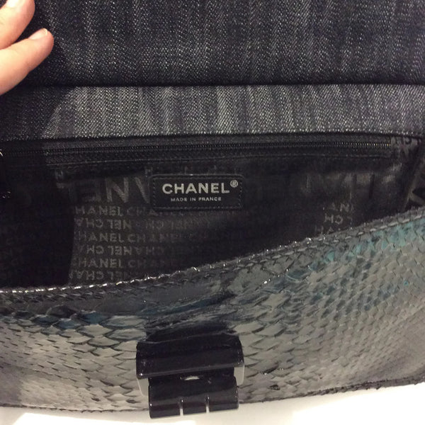 Dark Denim And Black Python Shoulder Bag by Chanel label