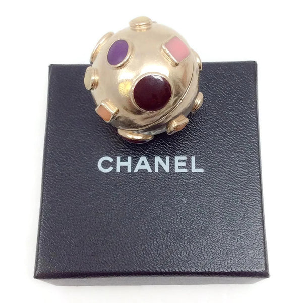Gold Toned Sphere Pendant by Chanel with box