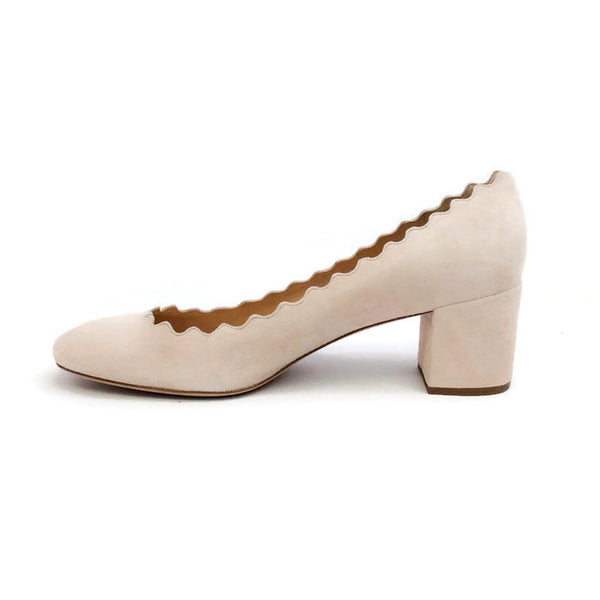 Scalloped Suede Nude Pumps by Chloe inside