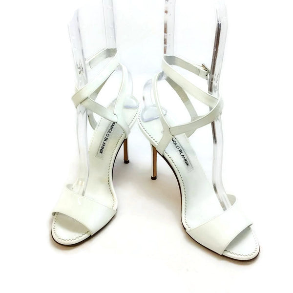 Llonicabi 105 White Patent Sandals by Manolo Blahnik pair