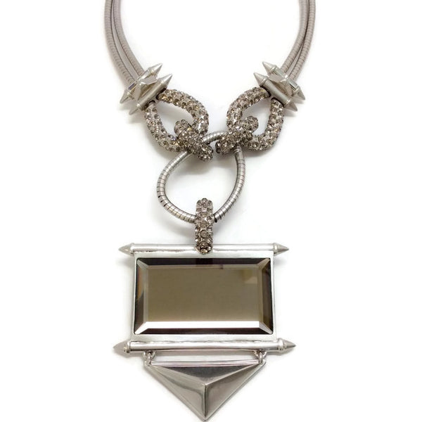 Silver and Crystal Statement Necklace by Alexander McQueen front