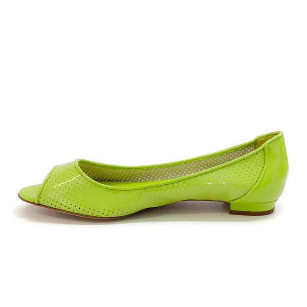 Anetina Lime Patent Leather Flats inside