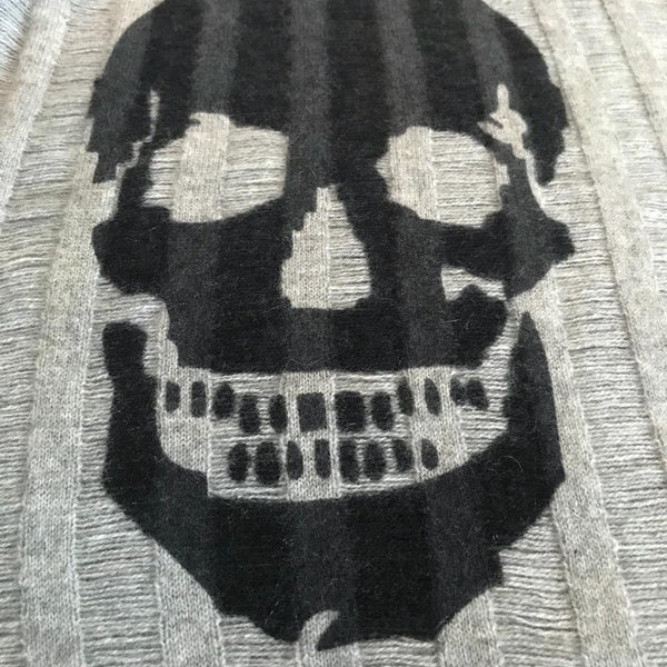 360 Sweater Gray with Black Skull Cashmere Chalis Sweater
