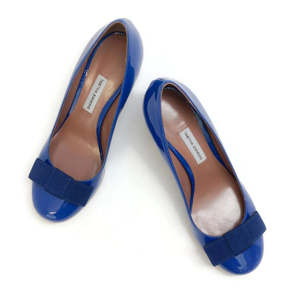 Flora Pump Navy Patent by Tabitha Simmons pair