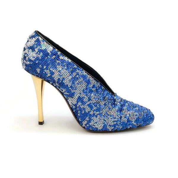Sequin Blue Pump by Lanvin outside