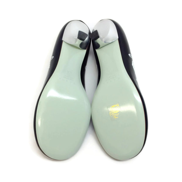 Marni Black / White Curved Heel Pumps