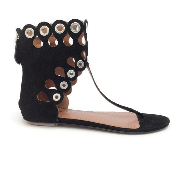 Cut Out Grommet Sandals by Alaïa outside