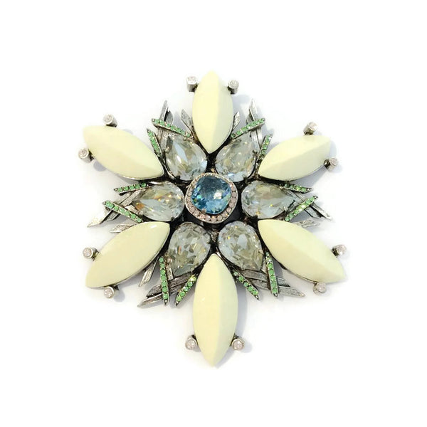 Flower Brooch with Stones by Lanvin