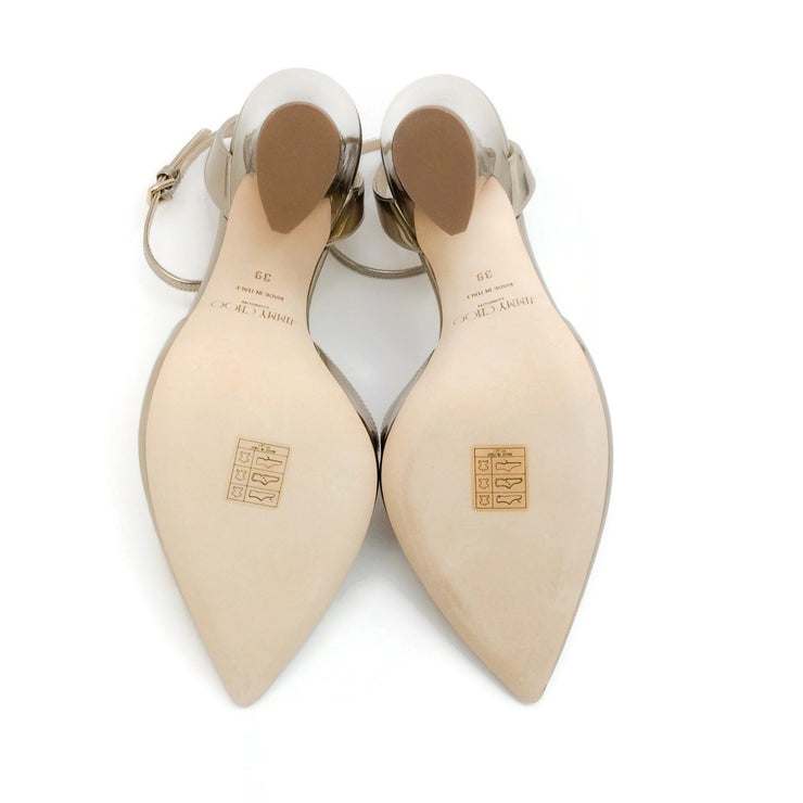 Jimmy Choo Gold Liquid Mirror Leather Micky 100 Pumps