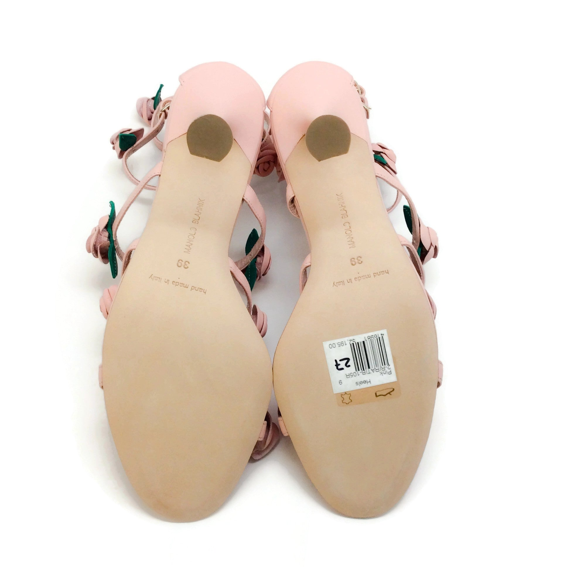 Manolo Blahnik Light Pink Doit Rosette Caged Sandals