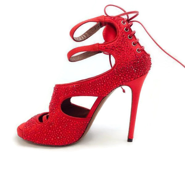 Bailey Red Satin Crystal Pumps by Tabitha Simmons inside