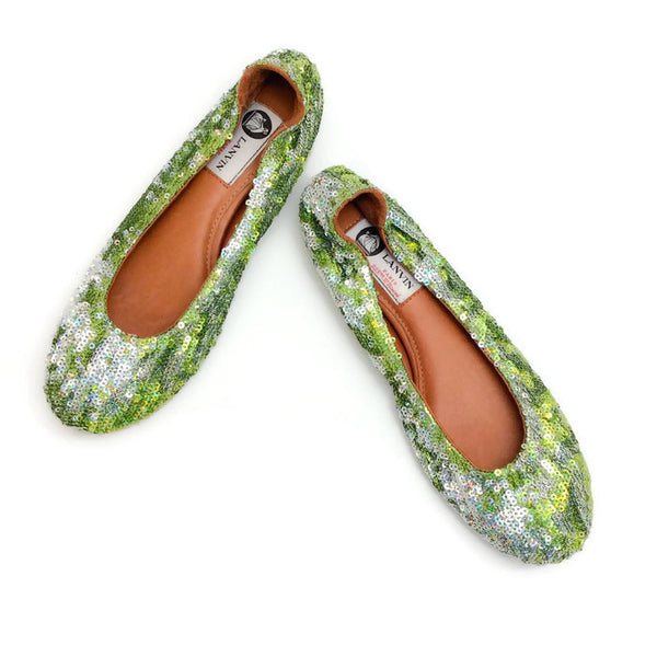 Sequin Ballet Flat Green by Lanvin pair
