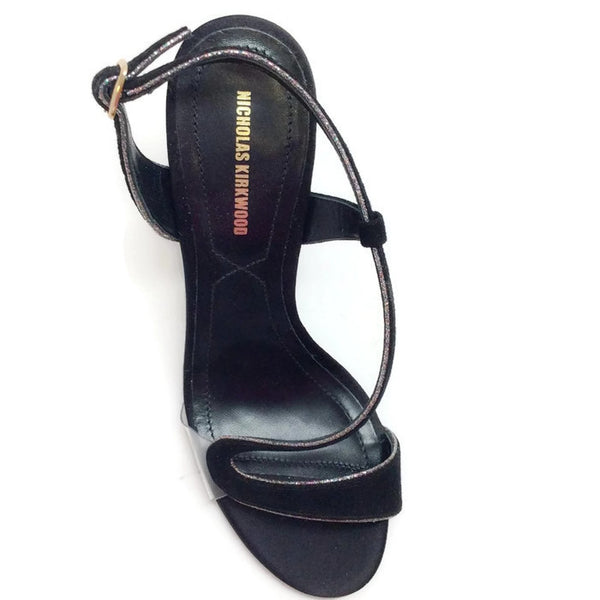 Suede and Glitter Black Sandals by Nicholas Kirkwood top