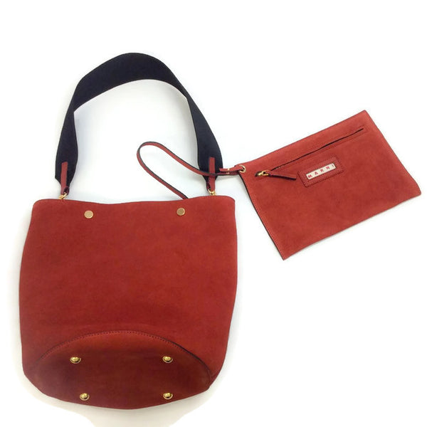 Bucket Tote Port Red by Marni with pouch