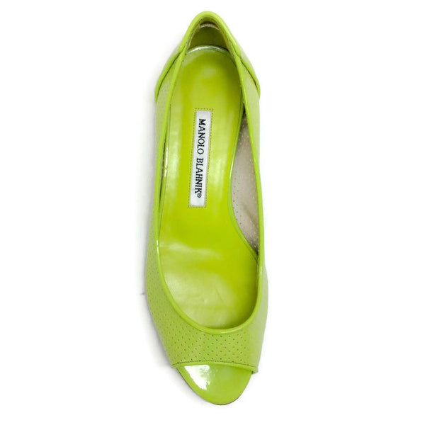 Anetina Lime Patent Leather Flats top