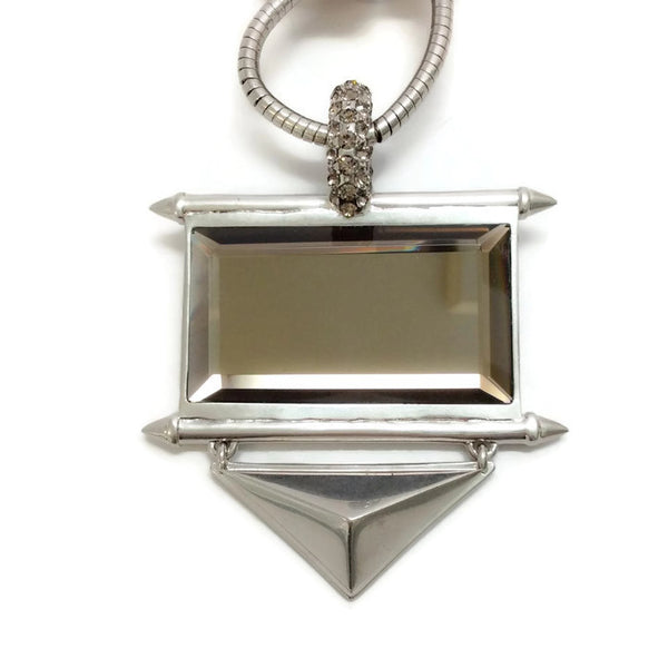 Silver and Crystal Statement Necklace by Alexander McQueen front stone