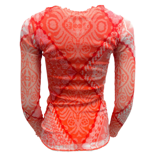 Fuzzi Coral and White Printed Mesh Jeweled Top