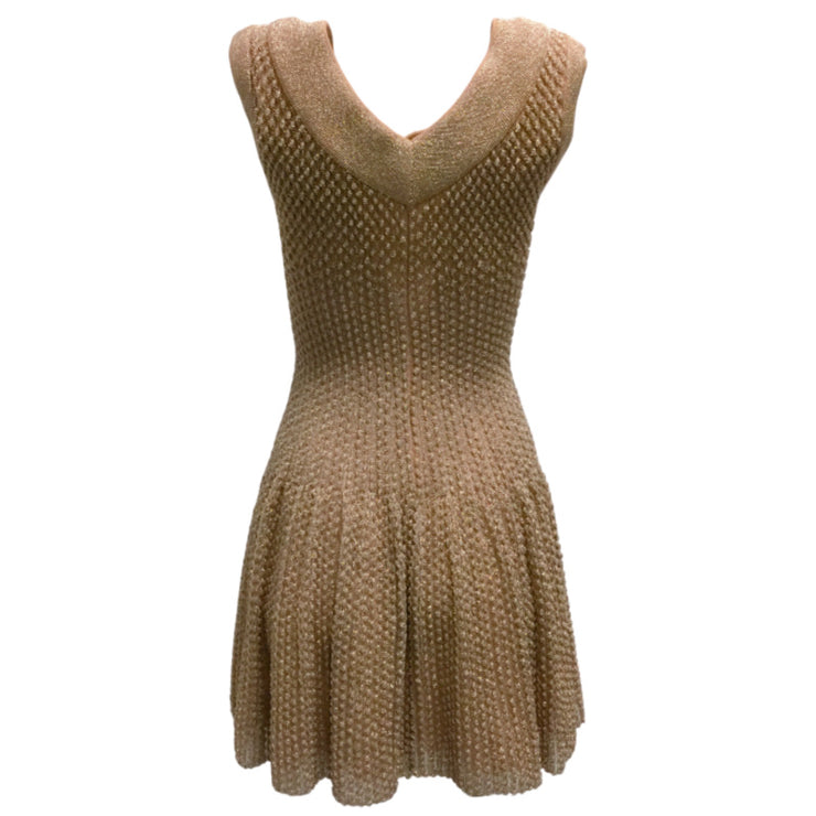 ALAÏA Rose Gold Metallic Dress
