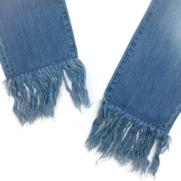 3X1 Light Blue Wash Mazzy Fringe Capri/Cropped Jeans
