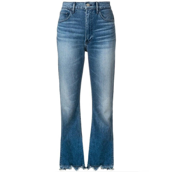 3X1 Medium Wash Empire Crop Bell Flare Leg Jeans