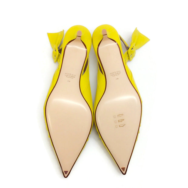 Francesco Russo Lime Knotted Kitten Heel Pumps