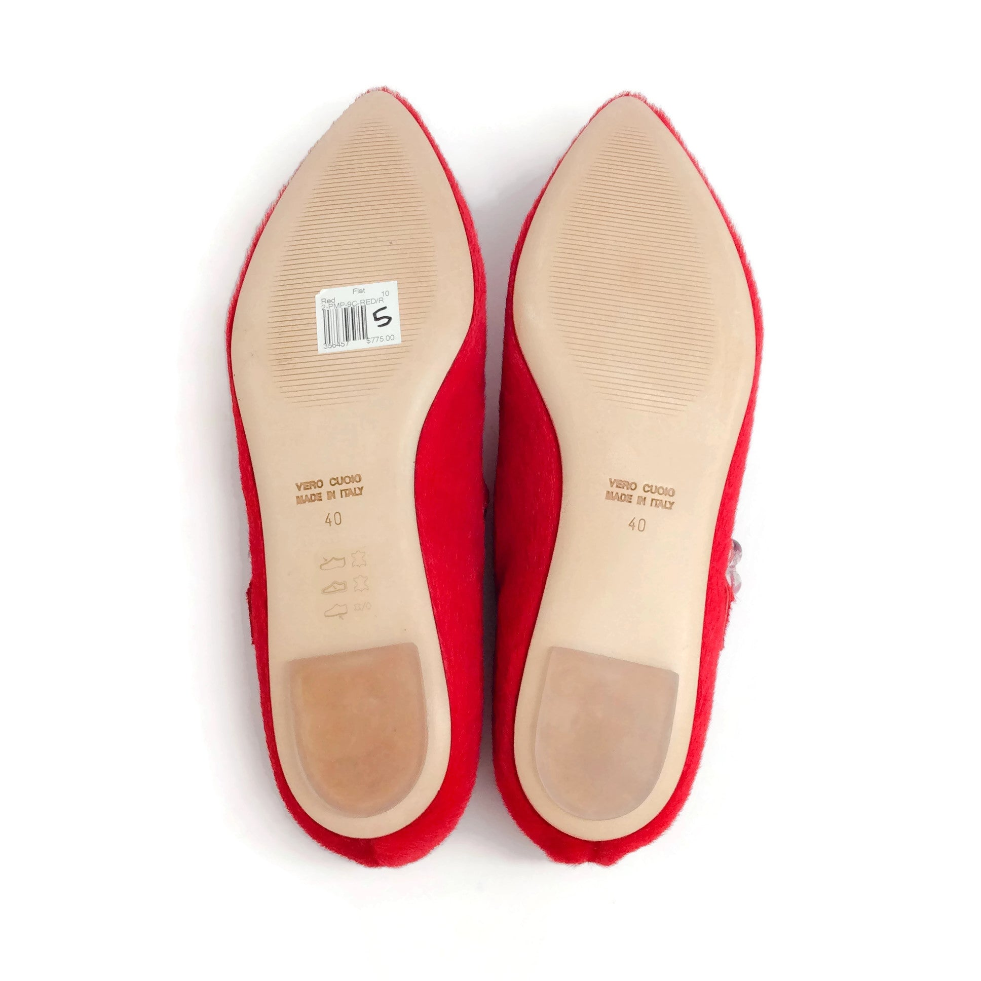 Simone Rocha Red Pony Criss Cross Ballet Flats