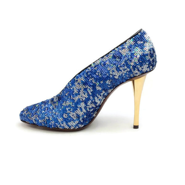 Sequin Blue Pump by Lanvin inside