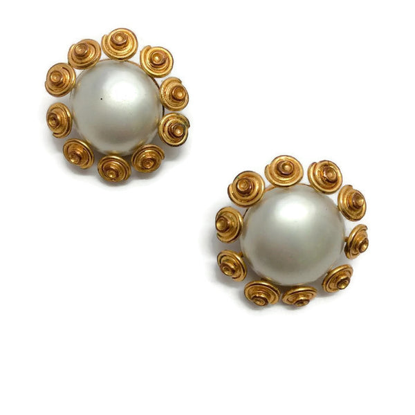 Vintage 1980's Gray Pearl Earrings by Chanel