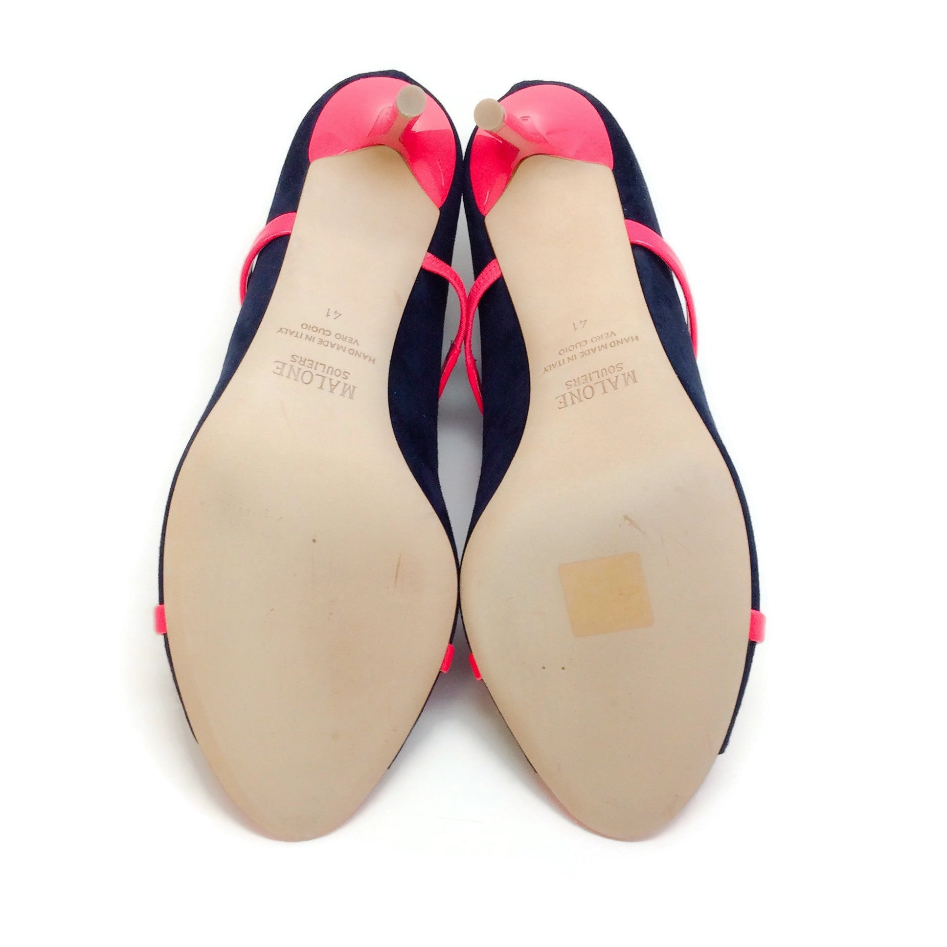 Malone Souliers Hot Pink / Navy Blue Suede Mika Pumps