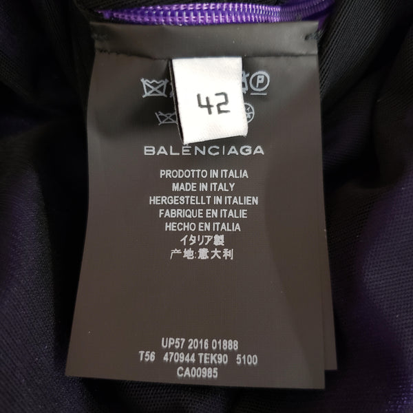 Balenciaga Purple Ruched Peplum Blouse
