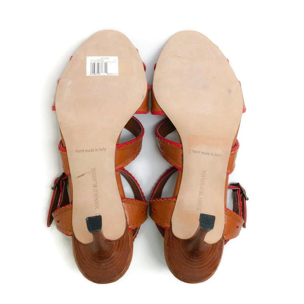 c2436ce6e6e2f Heeled Brown / Red Sandals by Manolo Blahnik – Roundabout Resale Couture