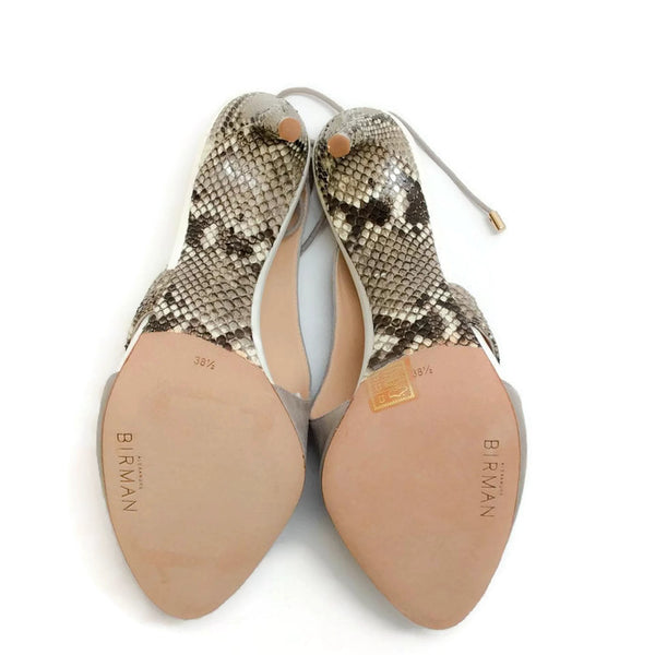 Alani Gray Suede and Python Sandals by Alexandre Birman 38.5