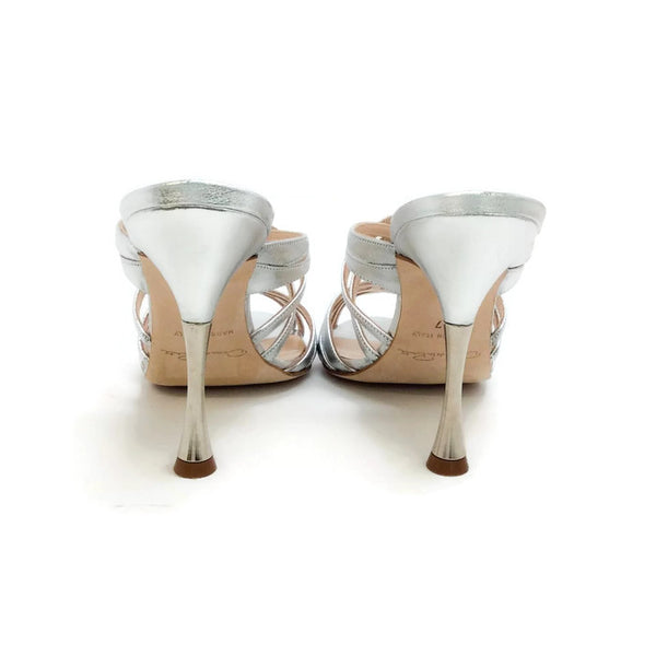 Lilyana Silver Sandals by Oscar de la Renta back
