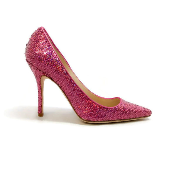 Ciuzzosa Pink Sequin Pumps by Manolo Blahnik outside