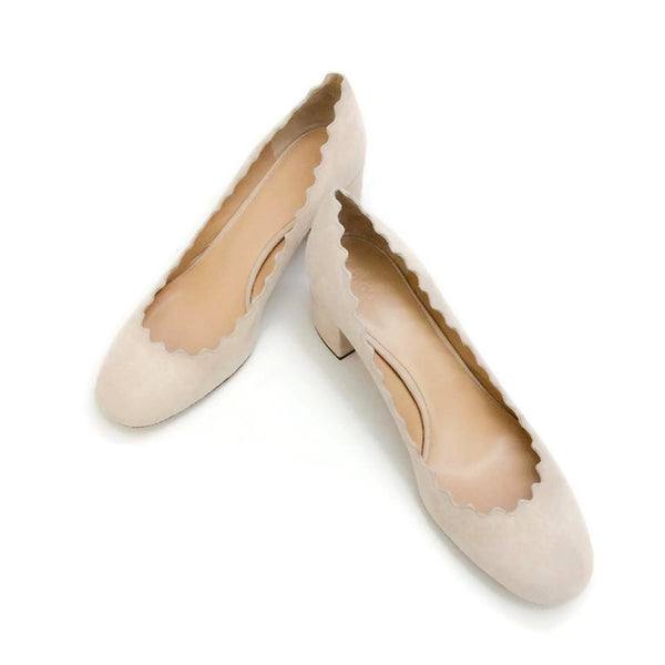Scalloped Suede Nude Pumps by Chloe pair