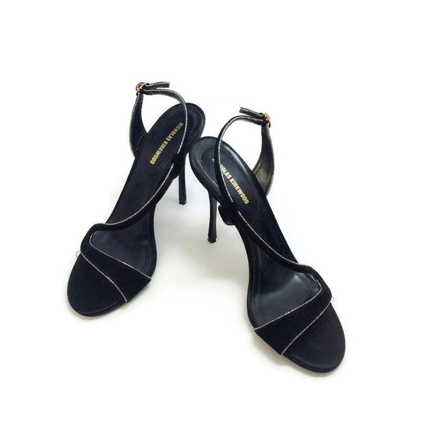 Suede and Glitter Black Sandals by Nicholas Kirkwood pair