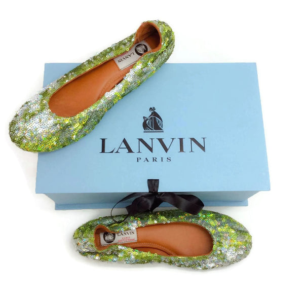 Sequin Ballet Flat Green by Lanvin with box