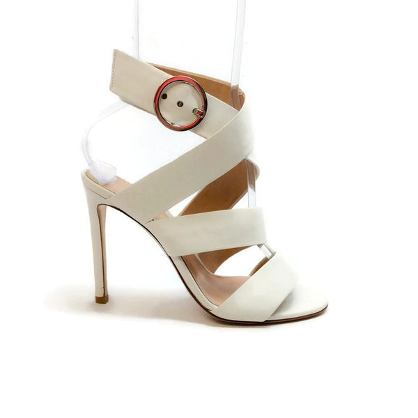 Ankle Wrap Off White Sandals by Gianvito Rossi outside