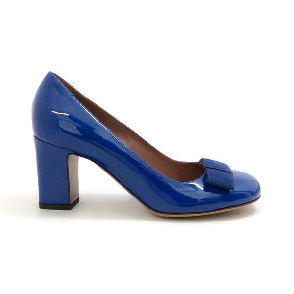 Flora Pump Navy Patent by Tabitha Simmons outside