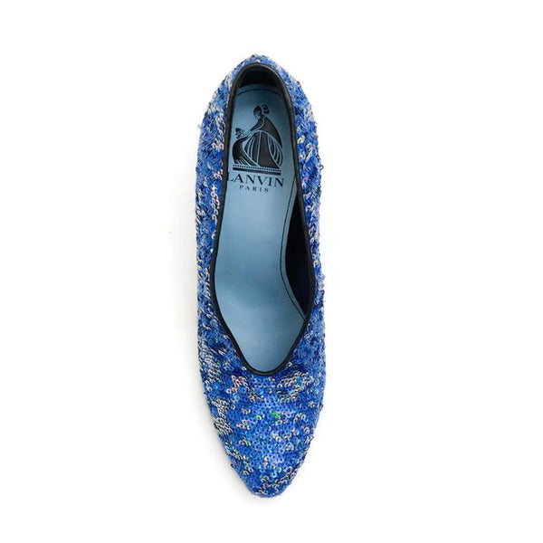 Sequin Blue Pump by Lanvin top