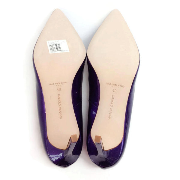 BB 90 Purple Patent Pumps by Manolo Blahnik 40