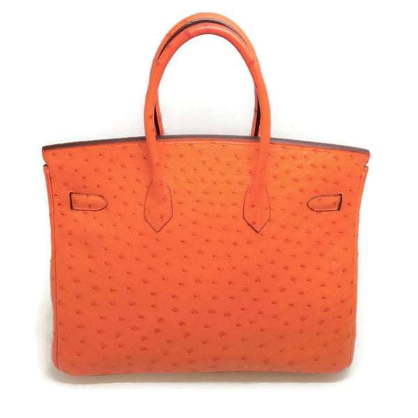 Ostrich Leather Birkin Bag Orange by Hermès back