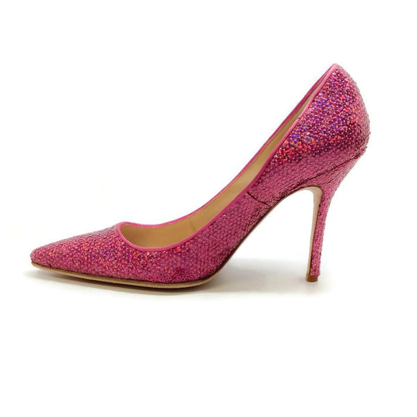 Ciuzzosa Pink Sequin Pumps by Manolo Blahnik inside