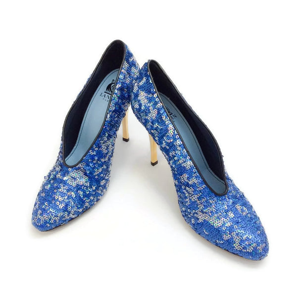 Sequin Blue Pump by Lanvin pair