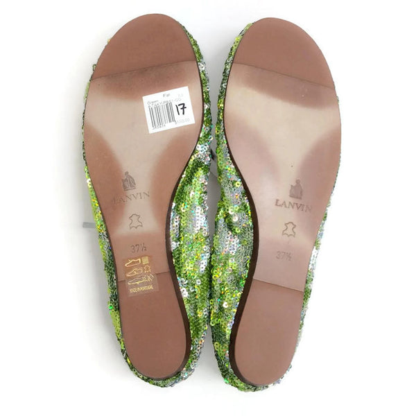 Sequin Ballet Flat Green by Lanvin 37.5