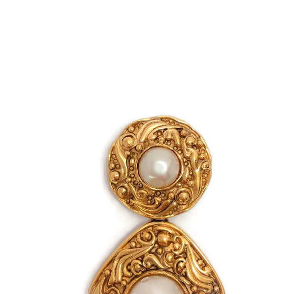 Vintage Gold Drop Brooch by Chanel front top